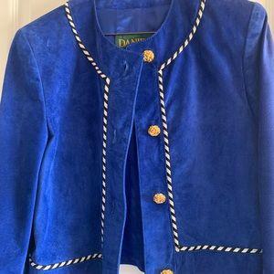 Danier Jackets & Coats - Vintage Blue Suede Leather Blazer Jacket - xs